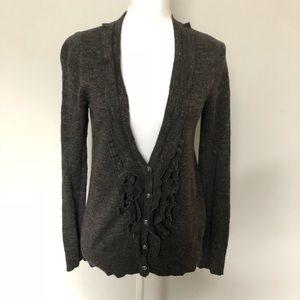 Eddie Bauer Cardigan Sweater Ruffle Brown Grey